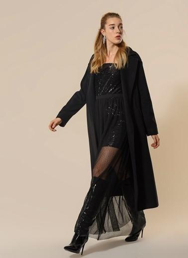 Agenda Payetli Tül Detaylı Elbise Siyah